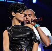 chris and rihanna on stage