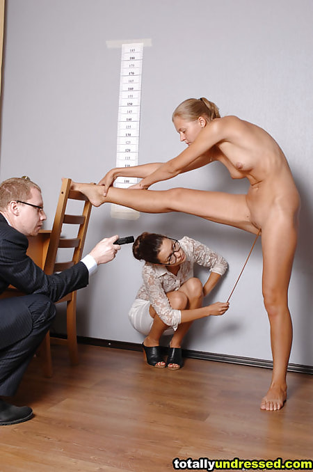Stretching totally undressed girl and amorous job interviewers