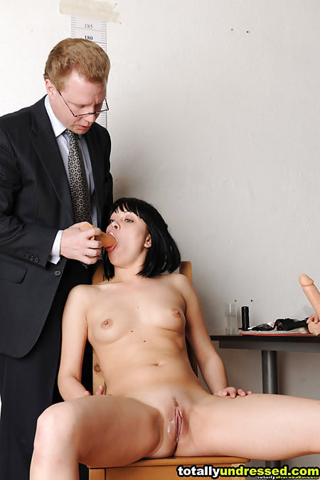 Undressed secretary candidate dildo-fucked at a maledom interview