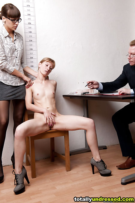 Testing the office masturbation skill at the nude job interview