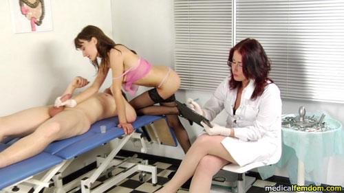 Medical milking at group CFNM femdom exam
