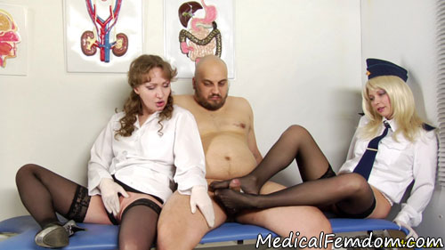Medical CFNM footjob and masturbation