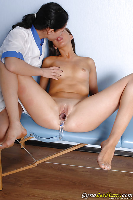 First lesbian tongue kiss during a deep gyno exam with a speculum