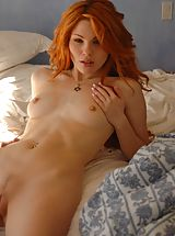 Small Breast, Red head gets naked in her bedroom