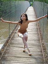 Small Breast, Pretty Nudes - Teen Lilly shows her beauty on a bridge