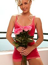 Small Boobs, Glam babe Kara Duhe in her skimpy pink dress on the terrace showing her pink panties