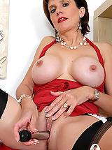Female Masturbation, Busty british mature toys her pussy