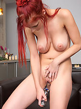 Female Masturbation, Ariel redhead bigtits toying vulva