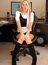 Secretary, Alison Angel plays in her office
