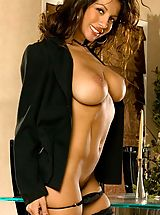 Secretary, Naughty latina seductress Candice Cardinele strips in black stockings