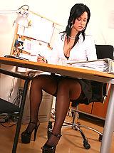 Secretary, Leggy office slut Iris fucking her boss at work