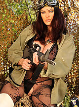Secretary, Dana, guns, fishnet and outdoors!!!
