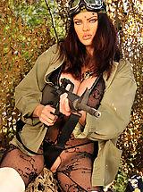 Secretary, Dana, guns, fishnet and outdoors!!!