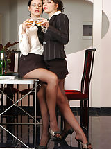 Secretary, Naughty secretary babes in silky tights drinking wine before messing around