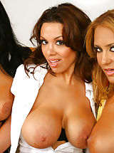Secretary, These 3 sexy milfs are getting down and dirty in the conference room of their job with the mail man