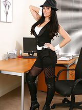 Secretary, Glorious secretary in tight top and shorts.