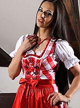 Secretary, Alp Girl Enni looks stunning with her long dark hair!