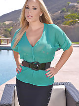 Secretary, Sunny Intimate Satisfaction: Curvy Blonde Stimulates By The Pool