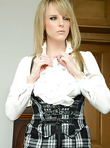 Secretary, Headmistress Mackenzie Kinky Graduates in Garter Belt Nylons as well as High Heel Pumps
