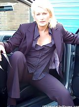 Secretary, Secretary Sally Taylor In Pantyhose And Trouser Suit