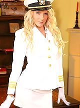 Secretary, Cute Ashlea looks wondeful dressed in her white uniform and matching white lingerie.