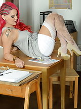 Secretary, Miss Pharell Slutty Graduates in Garter Belt Nylons and High Heels