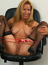 Secretary, After work Rachel likes to unwind and touch her mature pussy