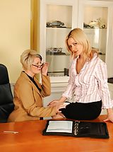 Secretary, Seduction In The Office - 2 Lesbians In Stockings Get It On!