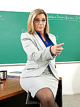 Secretary, Sara Jay shows her student what it's like to fuck a teacher with huge tits.