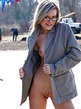 Secretary, Flasher shows her shaven pussy on a road
