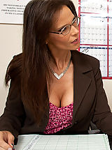 Secretary, Horny teacher takes her students penis in her butt