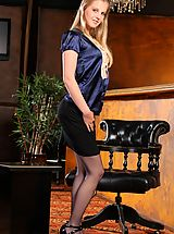 Secretary, Rose hides kinky blue lingerie beneath her smart office clothes.