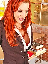 Secretary, Big titted redhead teacher Shannon Kelly getting pussy pounded by student