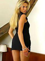 Secretary, Rachel in ultra short minidress with boots