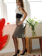 Secretary, Secretary Roxy in high heels and nylons stripping