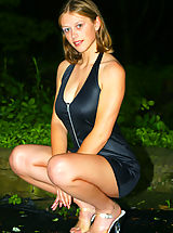 Secretary, Cindy Chapman out in the park looking super sexy in a black dress