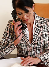 Secretary, Popular office MILF Kitty S shows off her 52 year old beaver at work