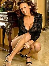 Secretary, Macy Sky in Black Lingerie Secretary Wide Spreads her Legs