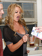 Secretary, Kelly Madison and her husband drop by next door and fuck Jayden James in the kitchen.