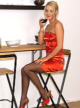 Secretary, Keely 02 glass of wine spreads pussy