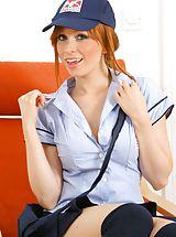 Secretary, Sexy redhead Alexandra in postgirl uniform