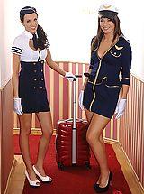 Secretary, Sexy Stewardesses Stroke Meat With Their Feet