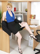 Secretary, 40 year old Ashley from AllOver30 strips off her business skirt for you