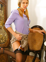 Secretary, Gorgeous Veronica the secretary with stockings