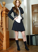 Secretary, Roxy Payne Naughty Scholars in Lingerie Nylons as well as High Heels
