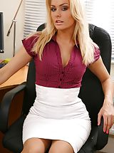 Secretary, Blonde looks stunning in her office wearing a tight blouse and a tight long white skirt. Non Nude