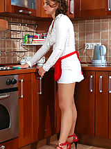 Secretary, French maid getting her barely visible pantyhose creamed after hot quickie