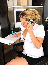Secretary, Petite 31 year old MILF Andrea Acosta squats down on her office desk