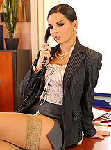 Secretary, Eve Angel sexy stockings secretary in heels strips in office