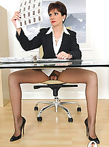 Secretary, Sheer open crotch pantyhose mature